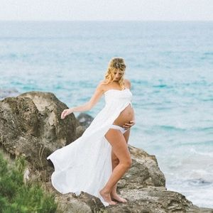 Maternity Shoot Flowy Nylon Dress